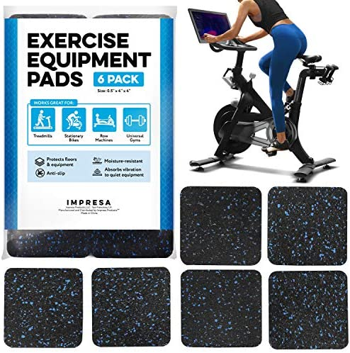 Exercise Equipment Mat 4 x 4 x 0 5 Pads Pack of 6 Treadmill Mat for Carpet Protection Protective product image