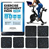 Exercise Equipment Mat 4' x 4' x 0.5' Pads Pack of 6 - Treadmill Mat for Carpet Protection - Protective Anti-slip Treadmill Pad for Hardwood Floors & Carpets - Home Gym Accessories - Protect Floors