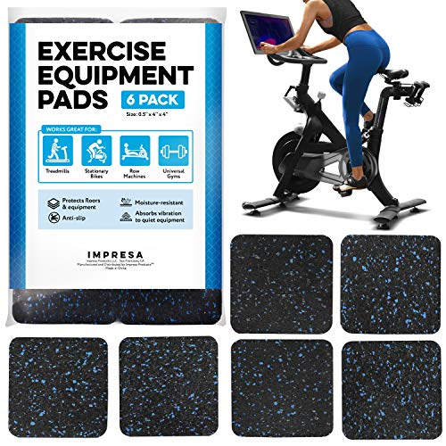 "Exercise Equipment Mat 4"" x 4"" x 0.5"" Pads Pack of 6 - Treadmill Mat for Carpet Protection - Protective Anti-slip Treadmill Pad for Hardwood Floors & Carpets - Home Gym Accessories - Protect Floors"