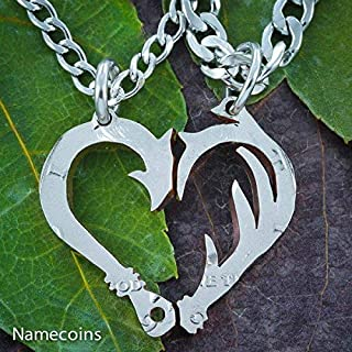 hook and antler heart necklace