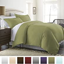 Beckham Hotel Collection Luxury Soft Brushed 2300 Series Microfiber Duvet Cover Set - Hypoallergenic - Full/Queen - Sage