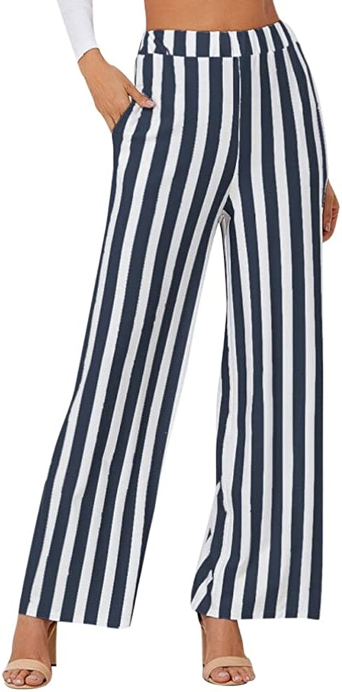 WUAI Women Pants for Work Casual Formal Business Stripe Printed Fashion Loose Fit Pants Wide Leg Pants Trousers