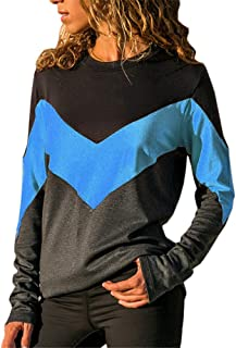 Womens Sweatshirt Contrast Color O-Neck Long Sleeve Blouse T-Shirt Autumn Holiday Tops