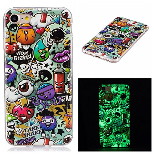 OnlyCase Cover per iPhone 7 / iPhone 8, Premium Elegante Effetto Luminoso TPU Morbida Silicone Gel Elegante Custodia con,Nottilucente Verde Glow in The Dark Custodia Antiurto, Graffiti