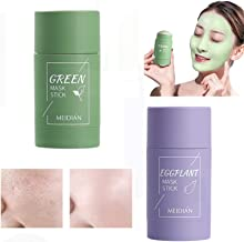 Green Tea Purifying Clay Stick Mask, Oil Control Anti-Acne Solid Fine Cleansing Mask, Solid Facial Mask, Eggplant Facial D...