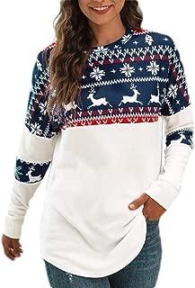 Macondoo Women Printed Christmas Crew Neck Long Sleeve Top Pullover Sweatshirts