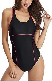 女性のワンピース水着レーシングトレーニングスポーツアスレチック水着女性の痩身水着 (Color : Black, Size : L)
