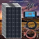 YAMEIJIA Boguang 24V 400w Panel Solar Flexible Mono con Controlador 20A Cable fotovoltaico Kit de módulo Solar RV Barco Caravana de Carga