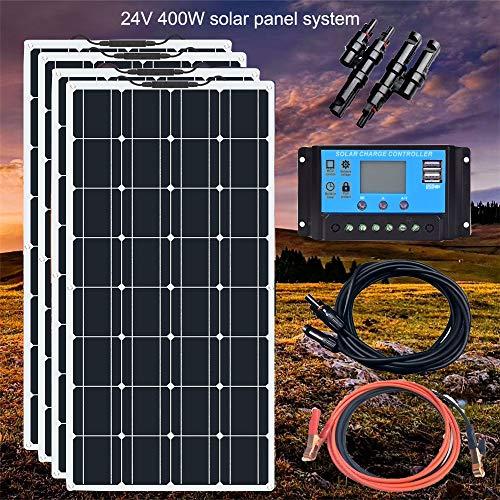 SHIJING Boguang Solarmodul, 24 V, 400 W, flexibel, Mono mit 20 A Comtroller, Photovoltaik-Kabel, Solarmodul-Kit für Wohnmobil, Boot, Wohnmobil