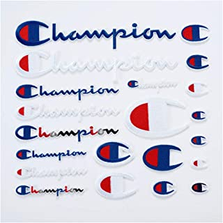 21Pack Champion Patches Iron on or Sew on Assorted Size Logo Patch Set DIY Embroidered Bundle Kit for Clothing Jeans Jackets T-Shirt Backpacks