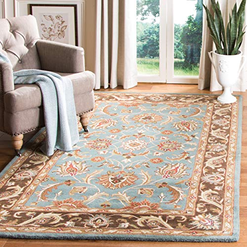 Safavieh Heritage Collection HG812B Handcrafted Traditional Oriental Blue and Brown Wool Area Rug (5' x 8')