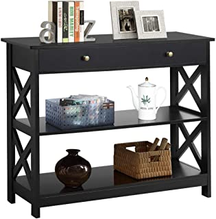 Yaheetech 3-Tier Sofa Side Console Table with 1 Drawer and 2 Storage Shelves Narrow Accent Table for Entryway/Hallway/Livi...