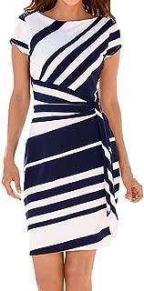 Women's Working Dresses Pencil Stripe Elastic at Waist Party Casual Mini Skirts Zulmaliu