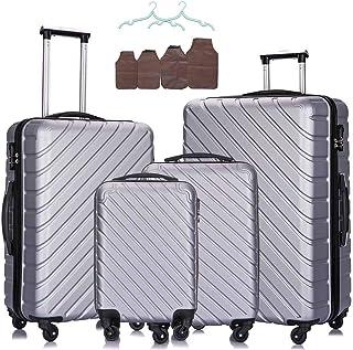 4PC Luggage Sets -Carry On Luggage Hardshell Luggage Sets Spinner Luggage Traveling Suitcase (Silver 18 20 24 28Inch)