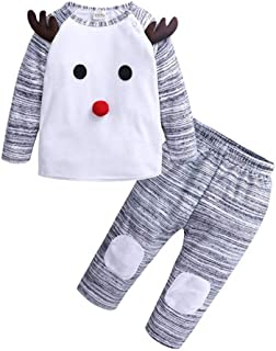 lcky Kids Christmas Pajama Set Cute Christmas Two-Piece Long Sleeve Top Pants