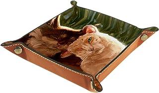 Plateau à bijoux Illustration de chat Plateau de rangement pour bijoux en cuir Petite boîte de rangement Organisateur de d...