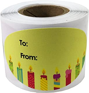 Happy Birthday Gift Tag Stickers for Presents 4 Different Designs 1.5 x 2.5 Inch 100 Adhesive Labels On A Roll
