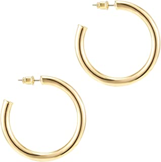 Pavoi 14k Gold Hoop Earrings For Women | 3.5mm Thick Infinity Gold Hoops Women Earrings | Gold Plated Loop Earrings For Wo...