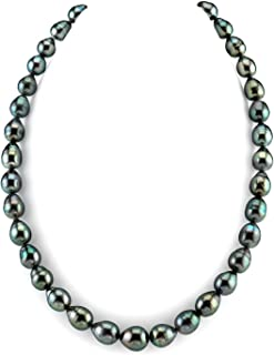 14K Gold Baroque Genuine Black Tahitian South Sea Cultured Pearl Necklace in 18