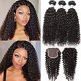 B&P Hair Brazilian Curly Bundles with Closure 100% Unprocessed Human Hair Bundles with Closure Natural Black 14 12 10+10 Inch Free Part 4x4 Lace Closure