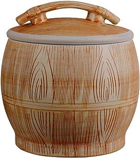 Pots et bocaux de conservation Céramique avec couvercle cylindre de riz Boîte de rangement for le riz de cuisine Réservoir...