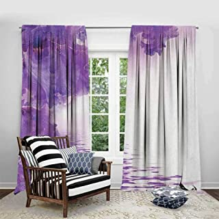 FOEYESEE Window Curtains Flower Iris Flowers Petals Against The Water River Mystical Magical Fairy Nature Image Violet White Cartoon Printed Nursery Room W63 xL63