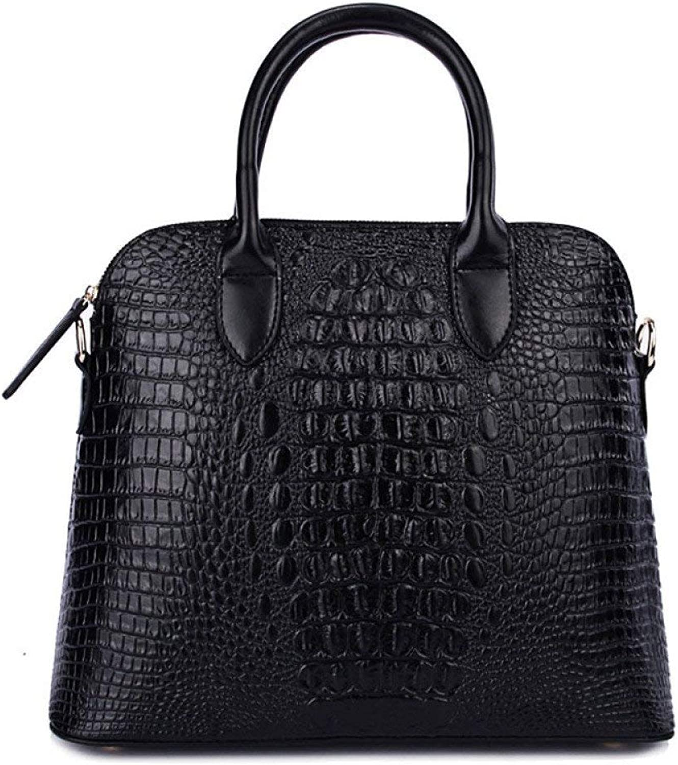 Huasen Evening Bag Shoulder Bag Long Strap Handbag Simple Crocodile Pattern Handbag Shell Bag Leather Handbag Party Handbag (color   Black, Size   One Size)