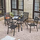 VICLLAX Patio Dining Set 5 Piece Outdoor Furniture 4 Stackable Patio Dining Chairs with 1 Square Patio Dining Table,Black