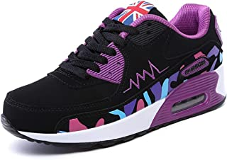 PADGENE Femme Baskets Mode Chaussures Sport Course Sneakers Fitness Gym athlétique Multisports Outdoor Casual,Noir + Viole...
