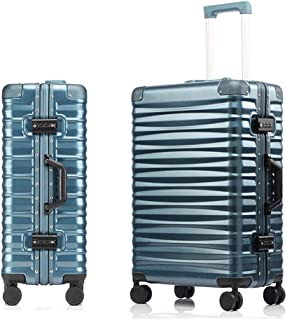 SMLCTY Aluminum Frame Trolley Case,ABS+PC,360° Universal Wheel Large Capacity Boarding,Hard Shell Travel Hold Check In Luggage Suitcase 4 Wheels (Color : Light blue, Size : 24 inch)