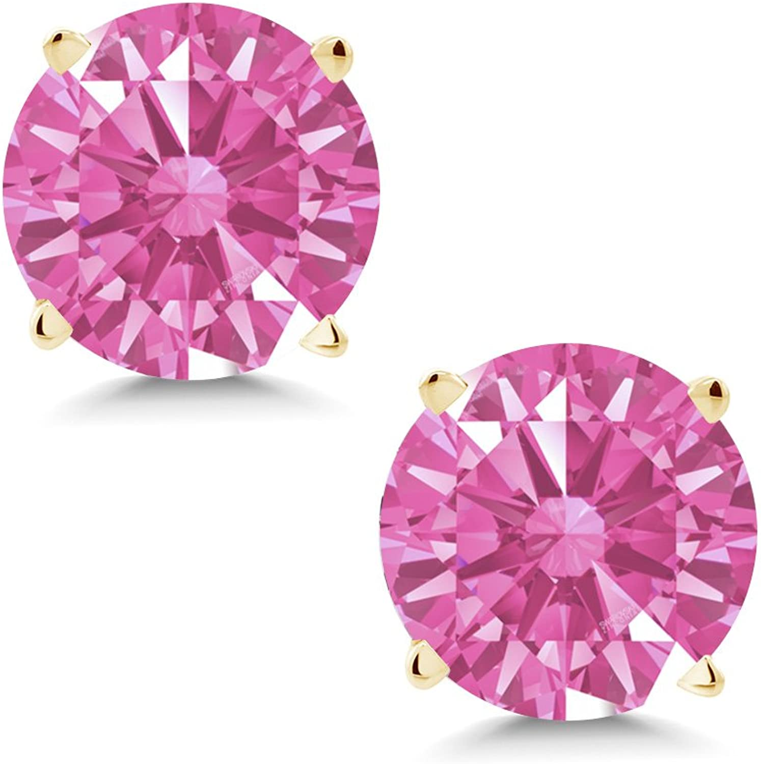 1.68 Ct Pink 14K Yellow gold Earrings Made With Swarovski Zirconia