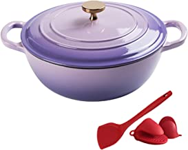 Home Dutch Oven with Dual Handle, Nonstick Enamel Cookware Crock Pot, Casserole Dish with Cover for Preparing Low and Slow...