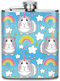 Steel Stainless Flask,Rainbow Unicorn Guinea Pig Pocket Funnel,Screwed Top Liquor Alcohol Whiskey Spirits Hip for Men,7 OZ