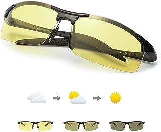 Fotocromaticas Gafas de Sol para Conducción Nocturna Polarizadas Hombre, Marco de Metal Anti Reflectante Gafas Nocturna - 100% Protección UVA UVB