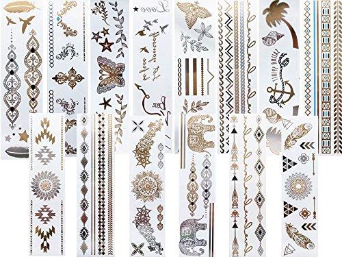 14 hojas largas con tatuajes temporales, diseño metálico, color dorado, plateado y turquesa
