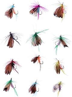 LIOOBO Moscas Secas Señuelos Artificiales Simulación Mosca Polilla Mariposa Cebo de Pesca Sub Bait Bass Salmon Truchas con Caja