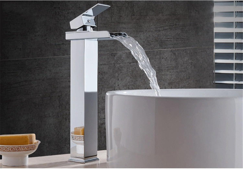 Oudan Basin Mixer Tap Bathroom Sink Faucet The Brass chrome plus high basin waterfall faucet basin mixer faucet hot and cold water bathroom sink Faucet