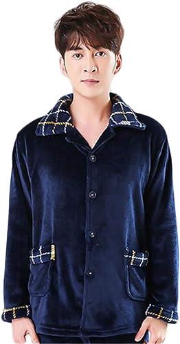 DAFREW Pyjama en Flanelle Hommes, vêteHommests d'hiver épais Chauds la Maison en Deux pièces. Ensemble de Pyjamas Pantalons (Couleur   Bleu, Taille   M)