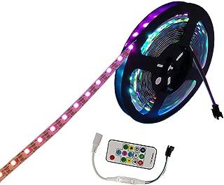 JOYLIT LED Strip Lights RGB WS2812B 300 LEDs DC 5V Individual Addressable Full Color LED Pixel Strip Dream Color Non-Waterproof 16.4ft/5M White Board with 14Keys RF LED Controller