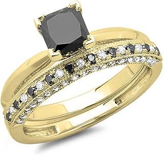 1.50 Carat (ctw) 10K Gold Princess Cut Black & Round White Diamond Bridal Engagement Ring Set 1 1/2 CT