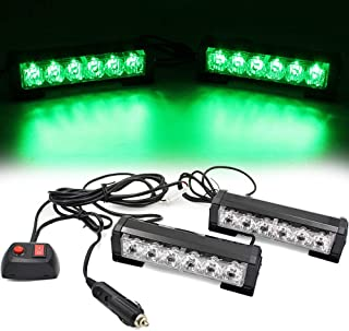 FOXCID 2 X 6 LED 9 Modes Traffic Advisor Emergency Warning Vehicle Strobe Lights for Interior Roof/Dash/Windshield/Grille/Deck Universal Waterproof (Green)