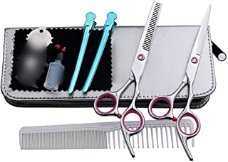 Professional Barber 6 Inch Hairdresser Professional Haircut, Flat + Tooth Scissor Haircut Set Scissors (Color : Pink)