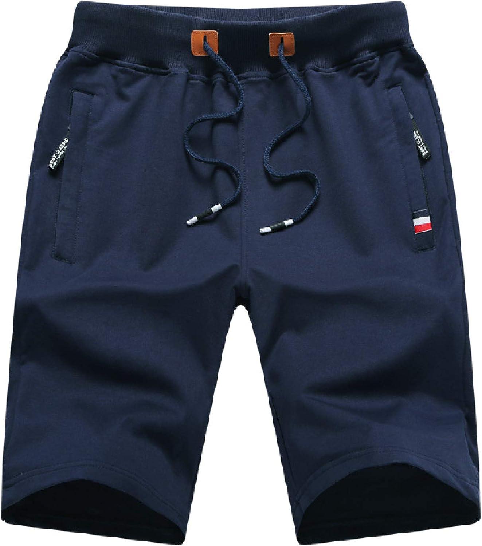 Segindy Men's Summer Casual Shorts Fashion Zipper Pockets Comfortable Elastic Waist