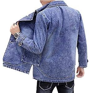 Men's Classic Denim Jacket Distressed  Lined Jean Jacket Blazer