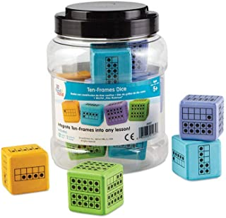 hand2mind Ten-Frame Math Foam Dice For Classroom (Ages 5+) | Dice Have Ten-Frame Configurations On Each Side With Rounded Corners | Great Gift For Girls, Boys, Teachers & Parents (Set of 12)