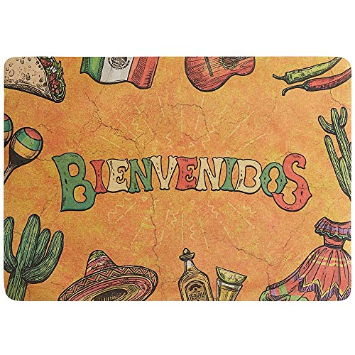 Netko Mexican Themed Paper Place Mats for Mexican Party Wedding Decorations Outdoor Picnics Dining Table, Dining Table Placemats 10'x14' ( Set of 50)