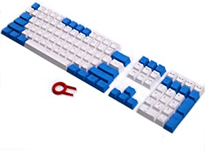 PBT Keycaps Backlit 108Key Set Doubleshot Translucent Cherry MX Key Caps Top Print with Keycaps Puller for 87/104/108 MX Switches Mechanical Gaming Keyboard (Blue White Combo)