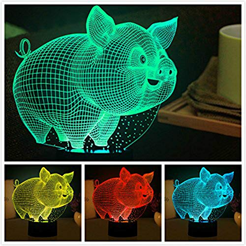 3D Pig Night Light Animal Touch Switch Decor Table Desk Optical Illusion Lamps 7 Color Changing Lights LED Table Lamp Xmas Home Love Brithday Children Kids Decor Toy Gift