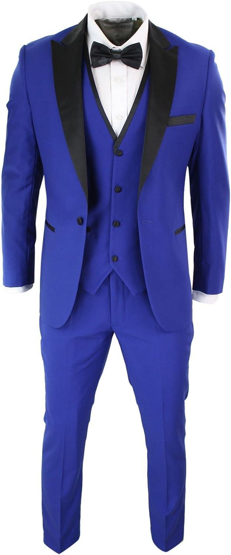Mens 3 Piece Blue Black Satin Tuxedo Dinner Suit Tailored Fit Wedding Prom Groom