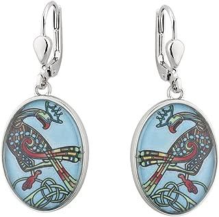 Solvar Rhodium Plated Book of Kells Aqua Bird Drop Earrings